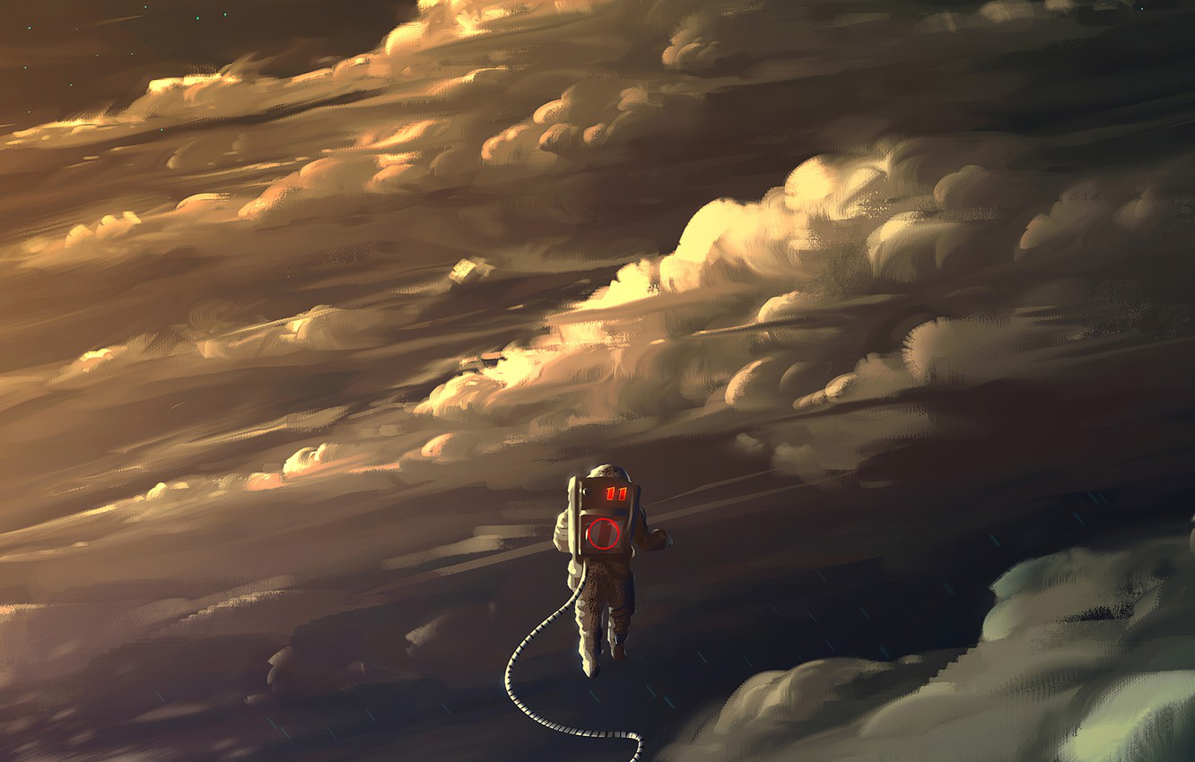 Photo wallpaper fantasy, clouds, stars, digital art, artwork, fantasy art, pearls, spacesuit, Astronaut