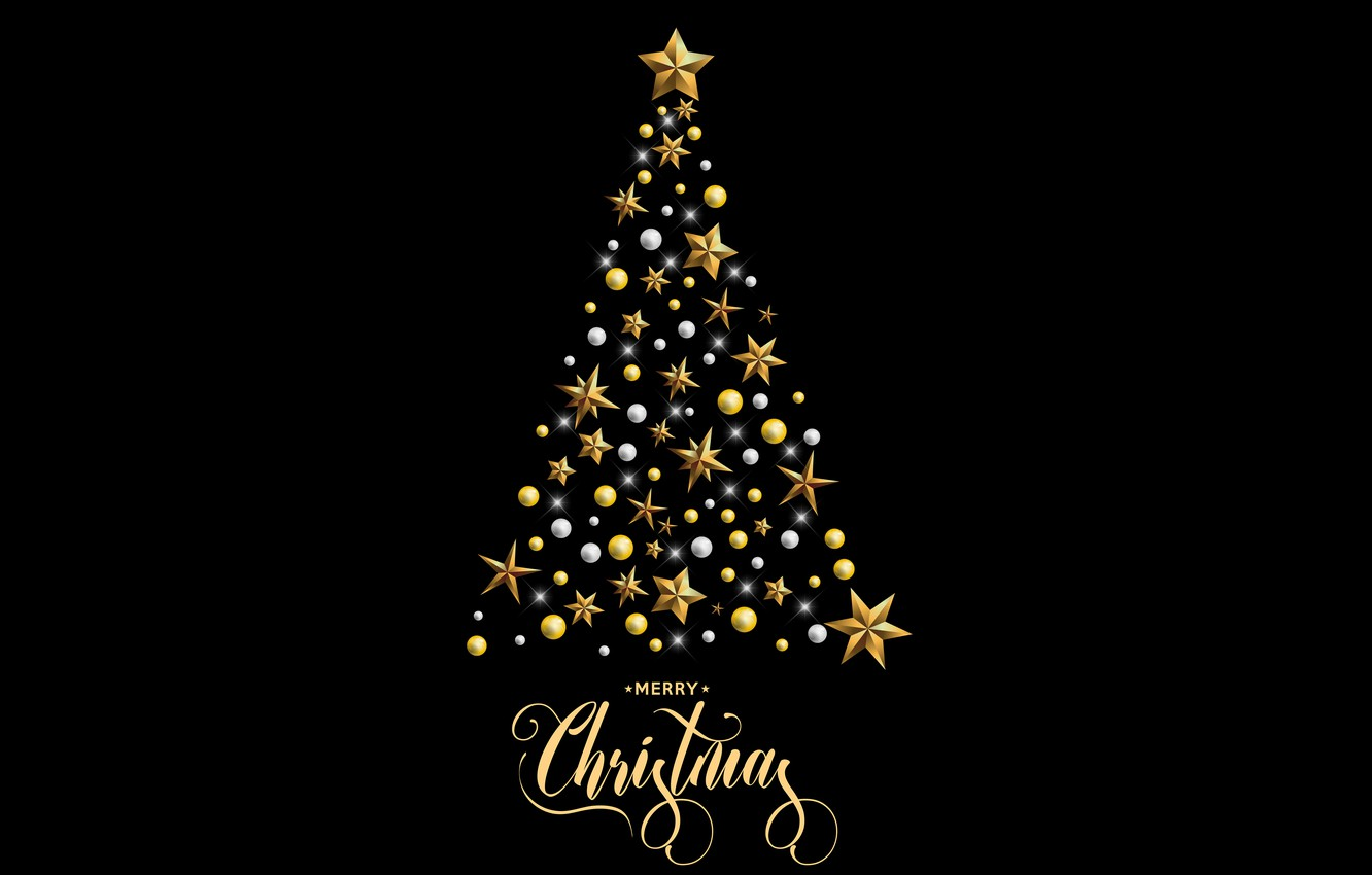 Christmas Desktop Pictures.Wallpaper Decoration Gold Tree New Year Christmas