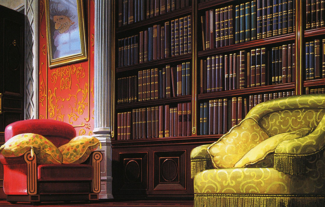 Wallpaper Comfort Books Picture Chair Pillow Library Art Hayao Miyazaki Spirited Away Spirited Away Images For Desktop Section Syonen Download