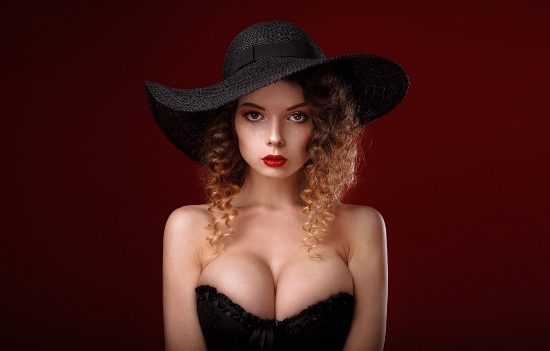 Photo wallpaper girl, cleavage, long hair, dress, hat, brown hair, brown eyes, breast, photo, photographer, model, lips, …