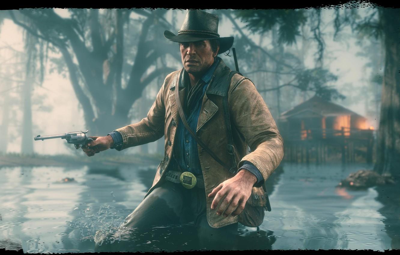 Wallpaper hat, revolver, swamp, Rockstar, Bandit, Red Dead