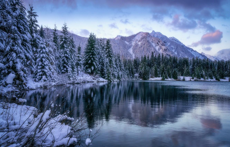 Photo wallpaper winter, forest, mountains, lake, pond, ate, Washington, The cascade mountains, Gold Creek Pond, Washington State, …