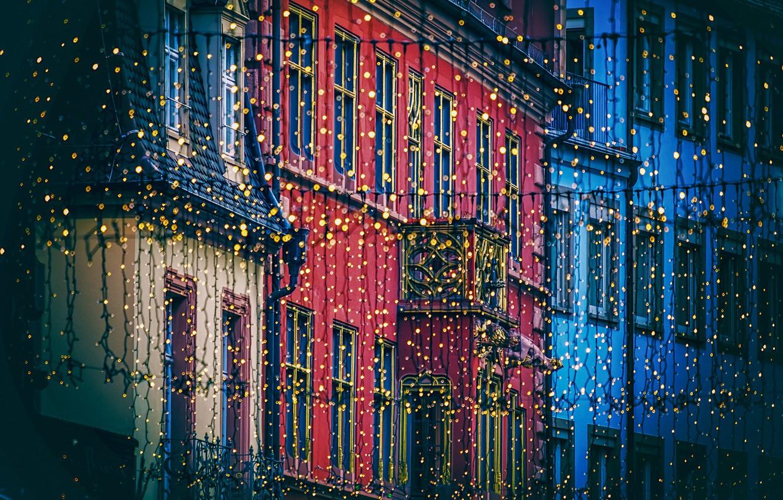 Photo wallpaper light, the city, lights, street, building, home, light bulb