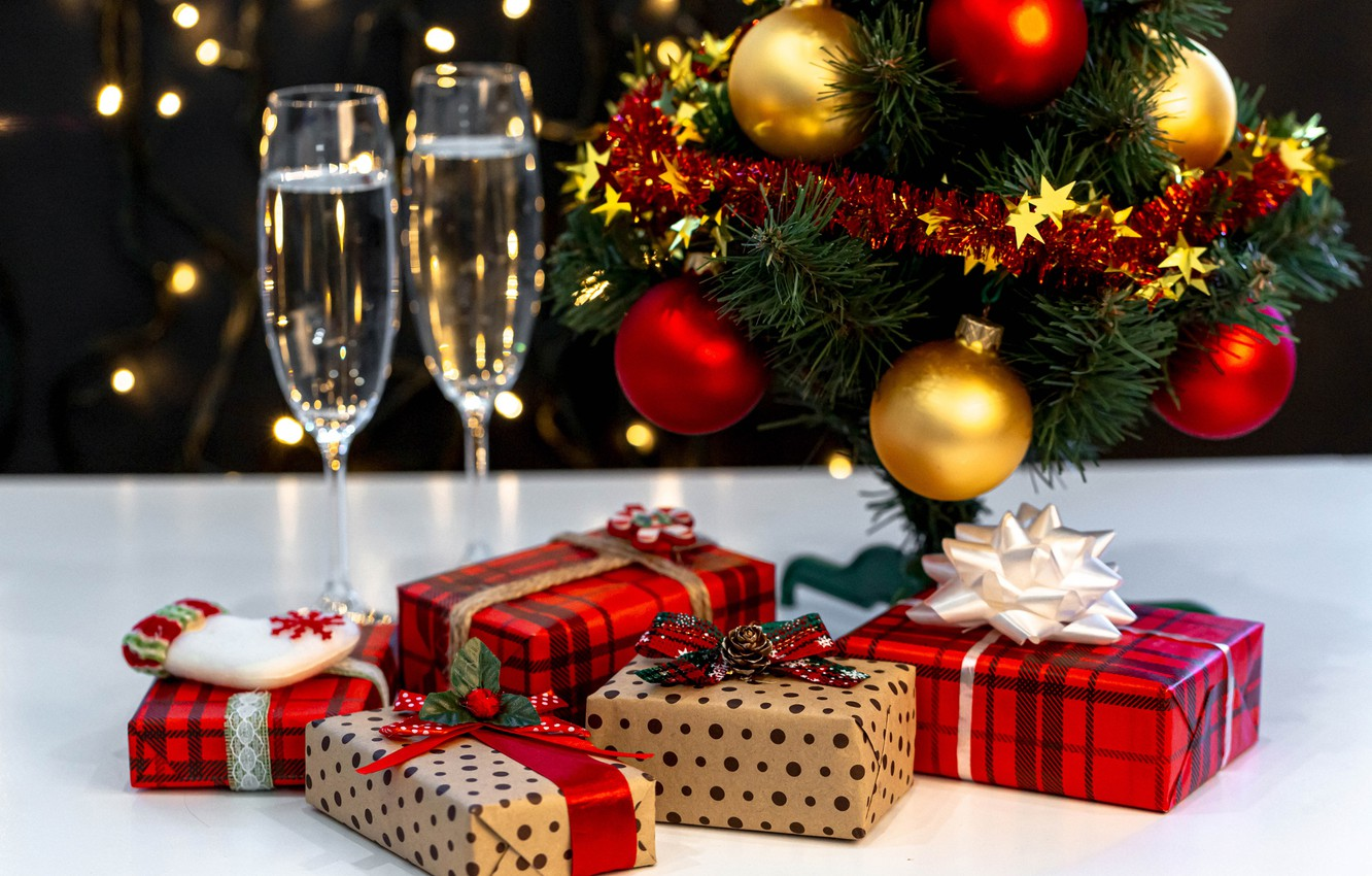 Wallpaper Glasses Christmas Gifts New Year Champagne Box Images For Desktop Section Novyj God Download