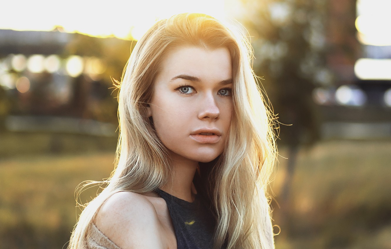 Photo wallpaper girl, photo, blue eyes, model, bokeh, blonde, portrait, open mouth, tank top, looking at camera, …