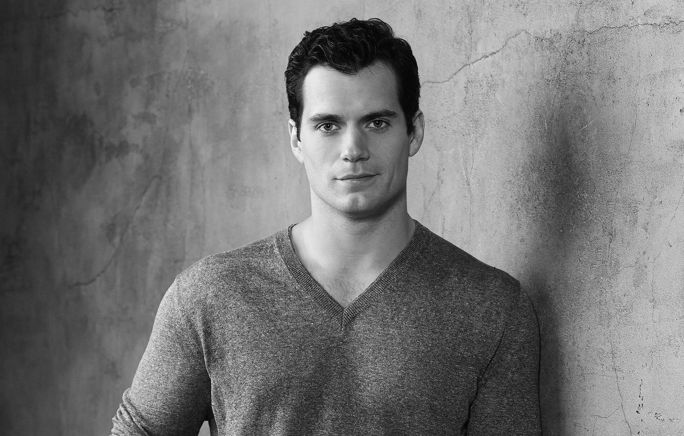 Photo wallpaper look, black and white, male, Henry Cavill