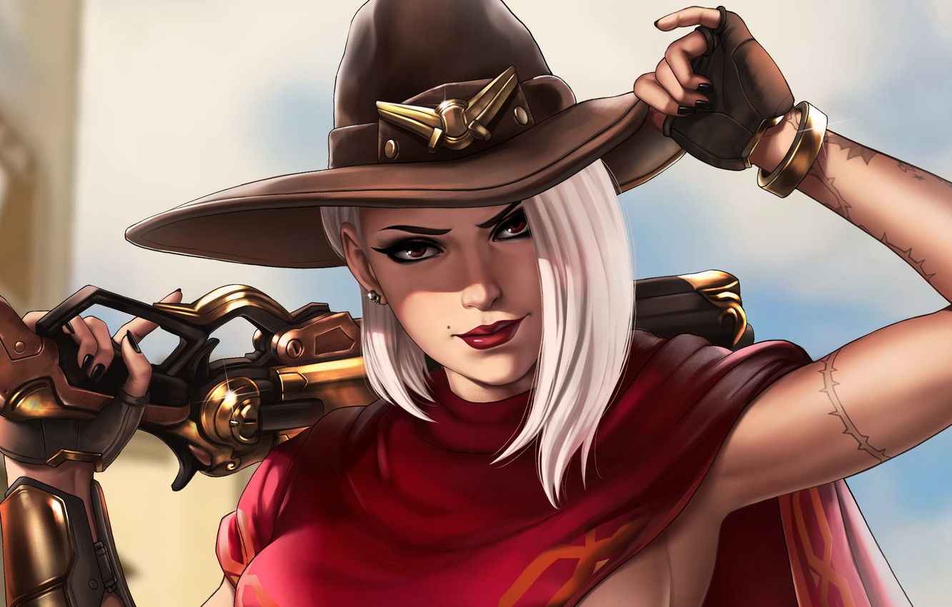 Photo wallpaper girl, hat, art, Ashe, Overwatch, Ash, by Dandonfuga