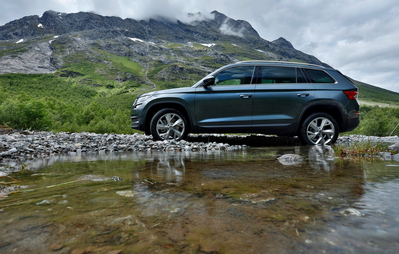 Photo wallpaper water, shore, SUV, Skoda, Skoda, 2016, Kodiaq