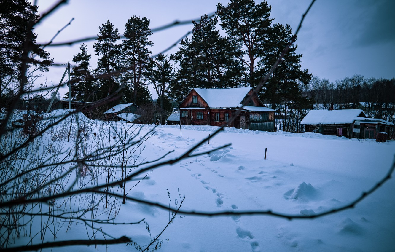 Photo wallpaper Winter, House, Village, Comfort, Aesthetics, dixon_photo