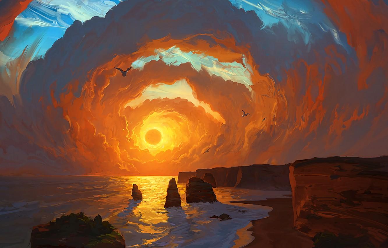 Photo wallpaper Landscape, sky, sea, coast, sunset, art, clouds, birds, sun, digital art, artwork, cliff, painting art