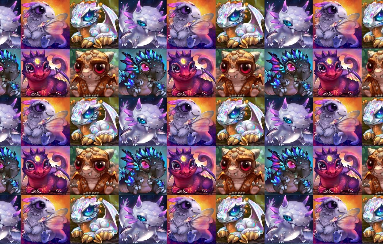 Photo wallpaper baby, fantasy, art, dragon, children's, Rikku the Leaf, Baby dragons