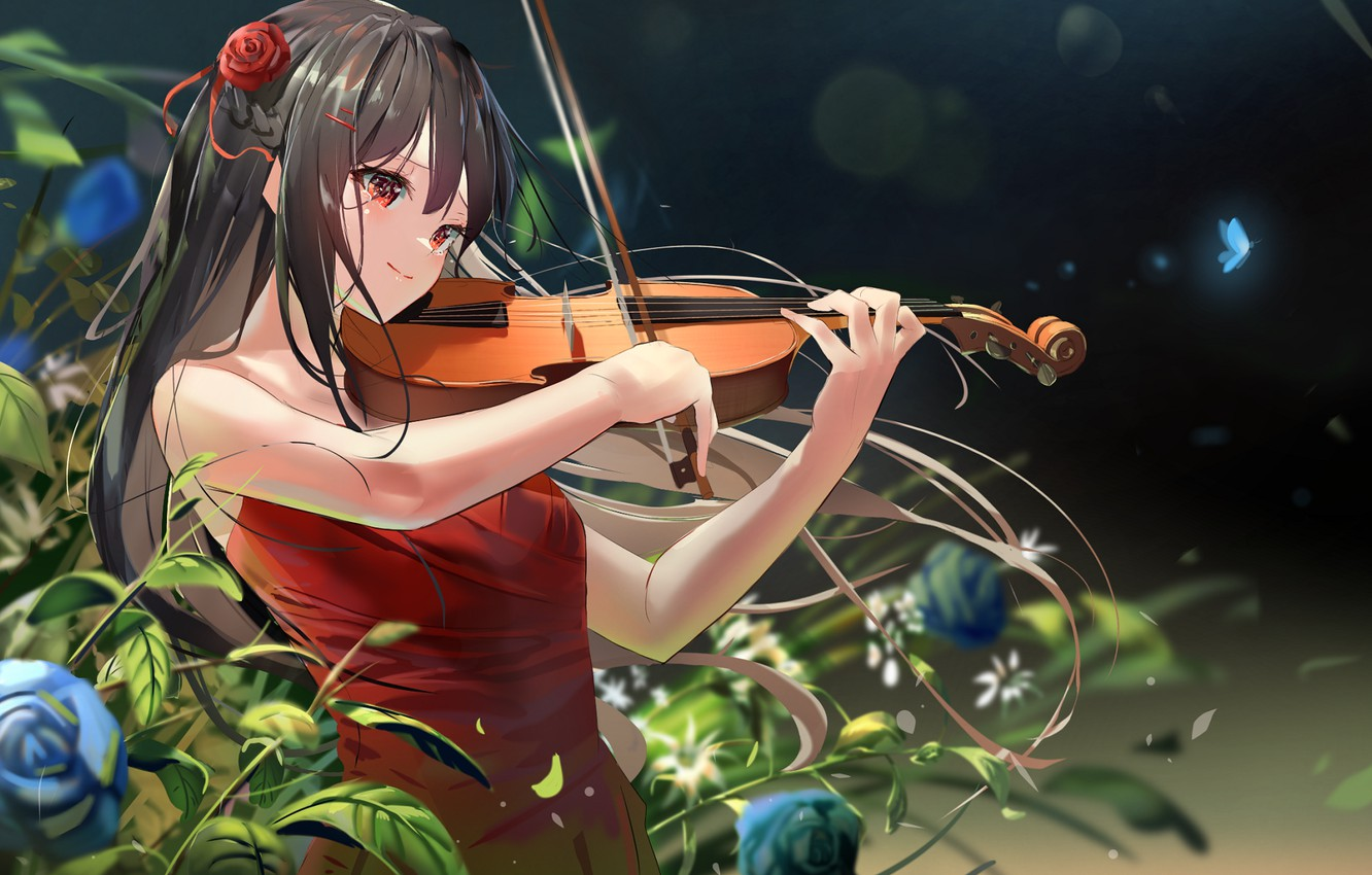 Photo wallpaper girl, violin, roses