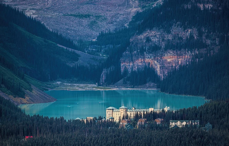 Photo wallpaper forest, castle, Canada