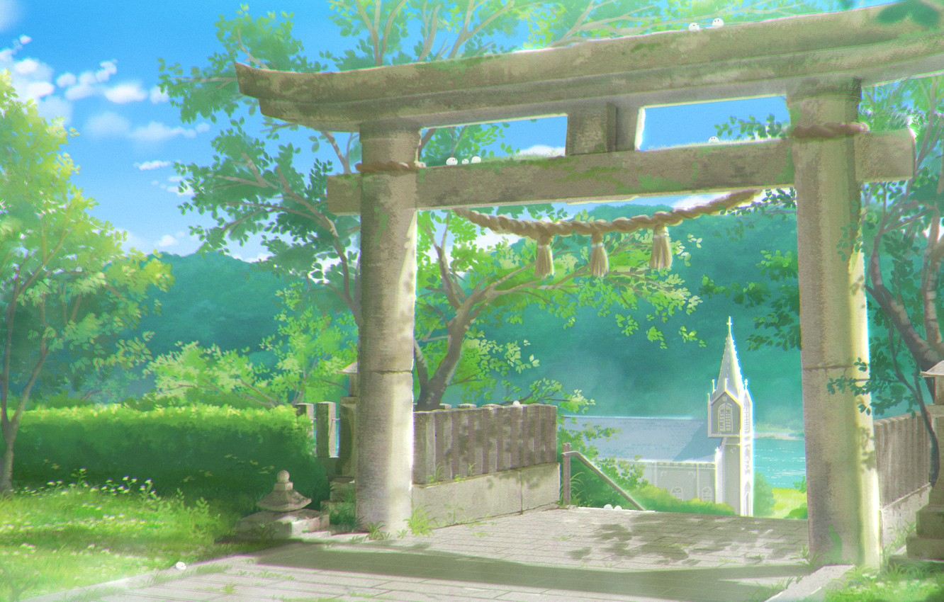 Photo wallpaper rope, Japan, Sunny day, blue sky, green leaves, torii gate, by Sachiko15