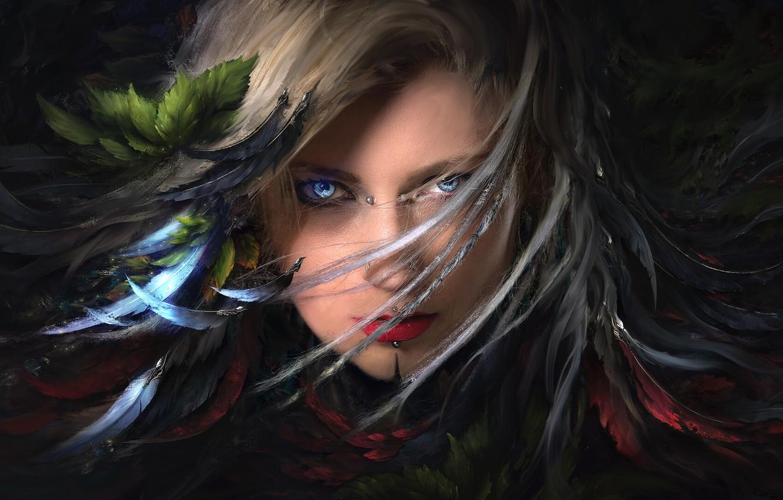 Photo wallpaper Girl, fantasy, art, blue eyes, feathers, leaves, lips, face, digital art, artwork, piercing, fantasy art, …