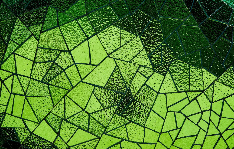 Photo wallpaper glass, mosaic, texture, green