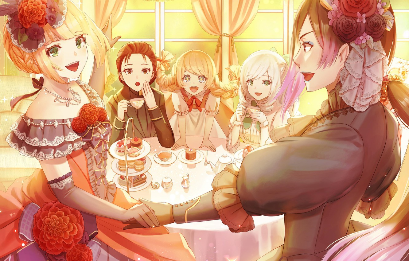 Photo wallpaper the tea party, neckline, guy, necklace, fun, flower in hair, gloves elbow, at the table, …
