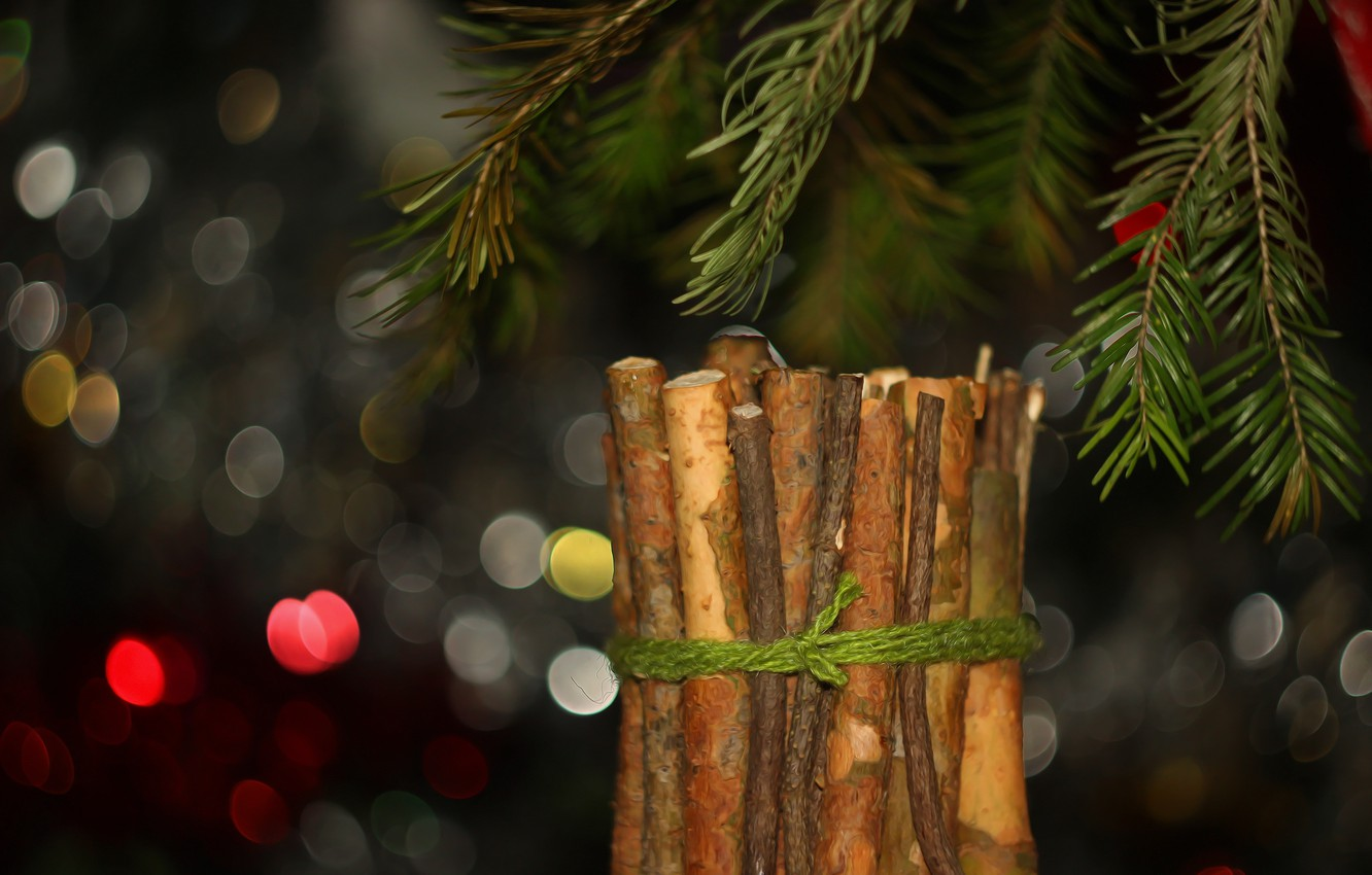 Photo wallpaper branches, background, spruce, bokeh