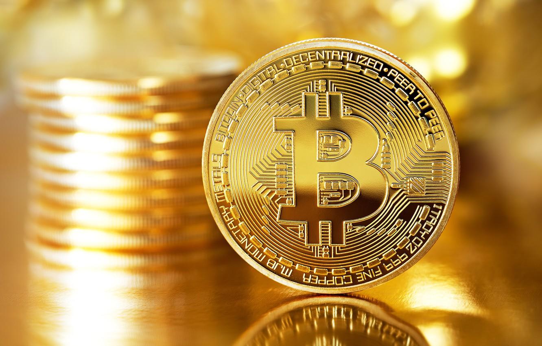 Photo wallpaper blur, logo, gold, coin, coin, bitcoin, bitcoin, btc