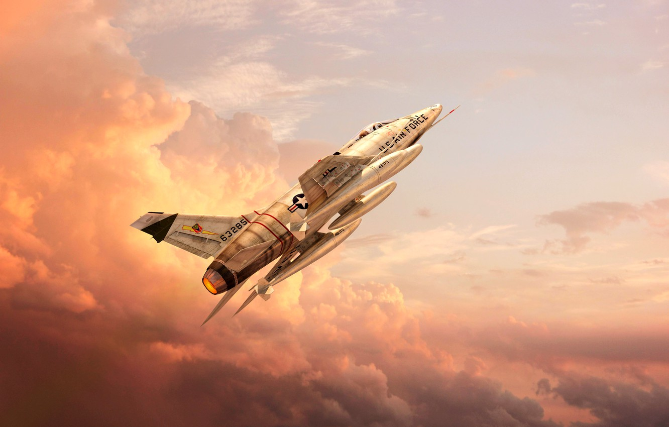 Photo wallpaper The sky, Clouds, The plane, Flight, Fighter, USA, BBC, The plane, GrahamTG, Flies, Super Sabre, …