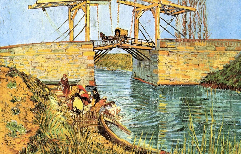 Photo wallpaper bridge, boat, coach, Vincent van Gogh, The Langlois, women washing, Bridge at Arles