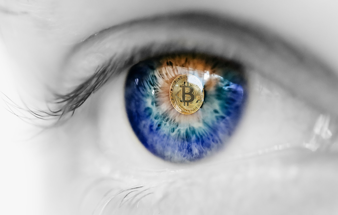 Photo wallpaper eye, market, coin, bitcoin