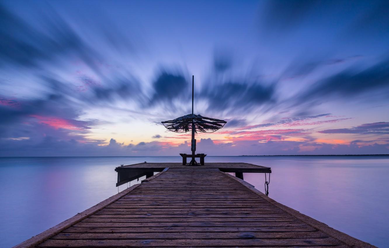 Photo wallpaper sea, sunset, pierce