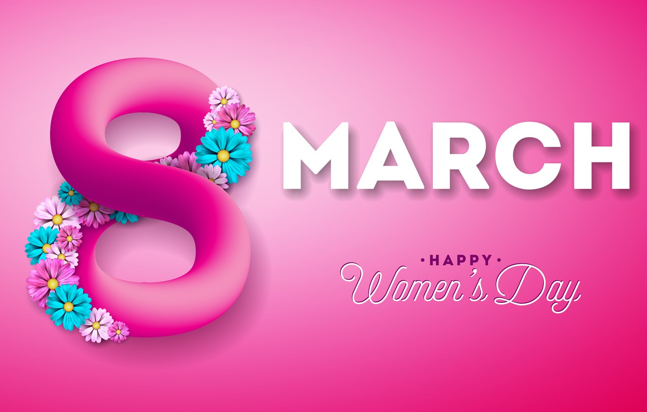 Photo wallpaper flowers, happy, pink background, March 8, pink, flowers, women's day, 8 march, women's day