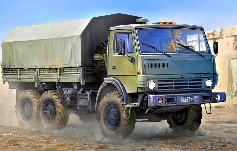 Photo wallpaper Russia, Rover, army, four-wheel drive, terrain, KamAZ-4310, the basic model