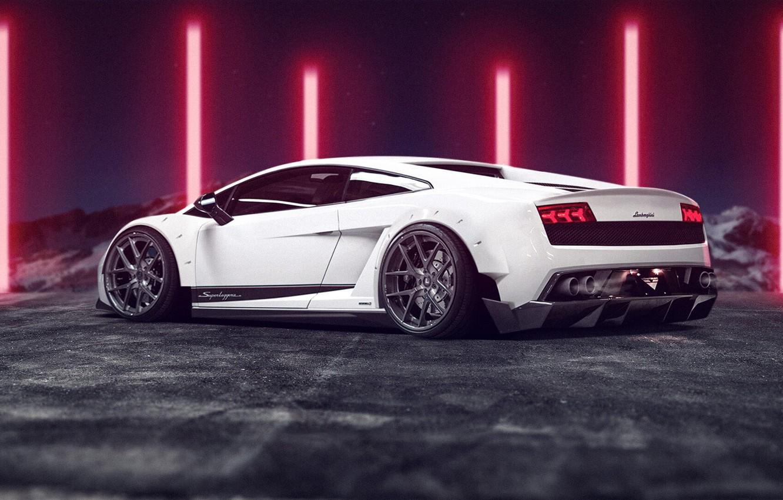 Photo wallpaper Auto, White, Machine, Gallardo, Car, Rendering, Lamborghini Gallardo, Matija Keser, Transport & Vehicles, by Matija …