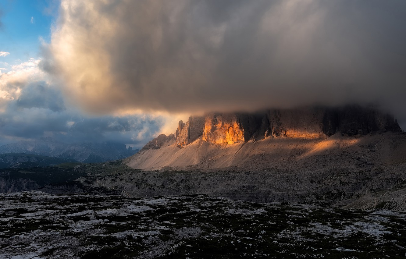 Photo wallpaper the sky, clouds, light, mountains, clouds, rocks, cloud, Italy, cloud, The Dolomites, barrier, mysteriously, hidden