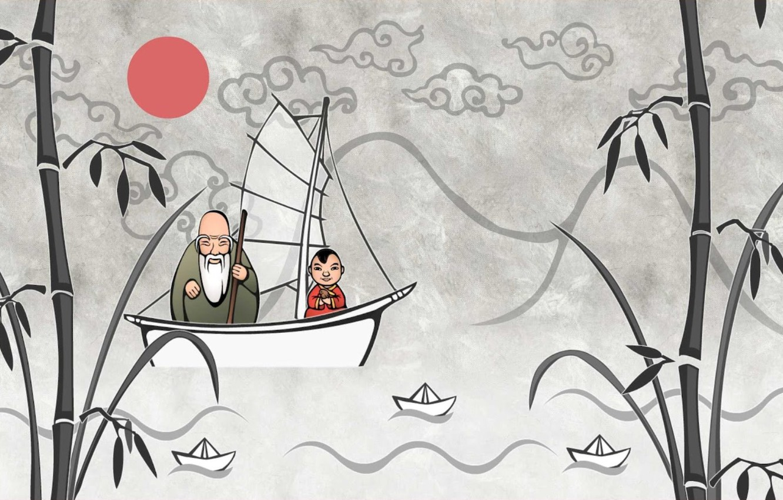 Photo wallpaper boat, bamboo, the old man, boats, Japanese motifs