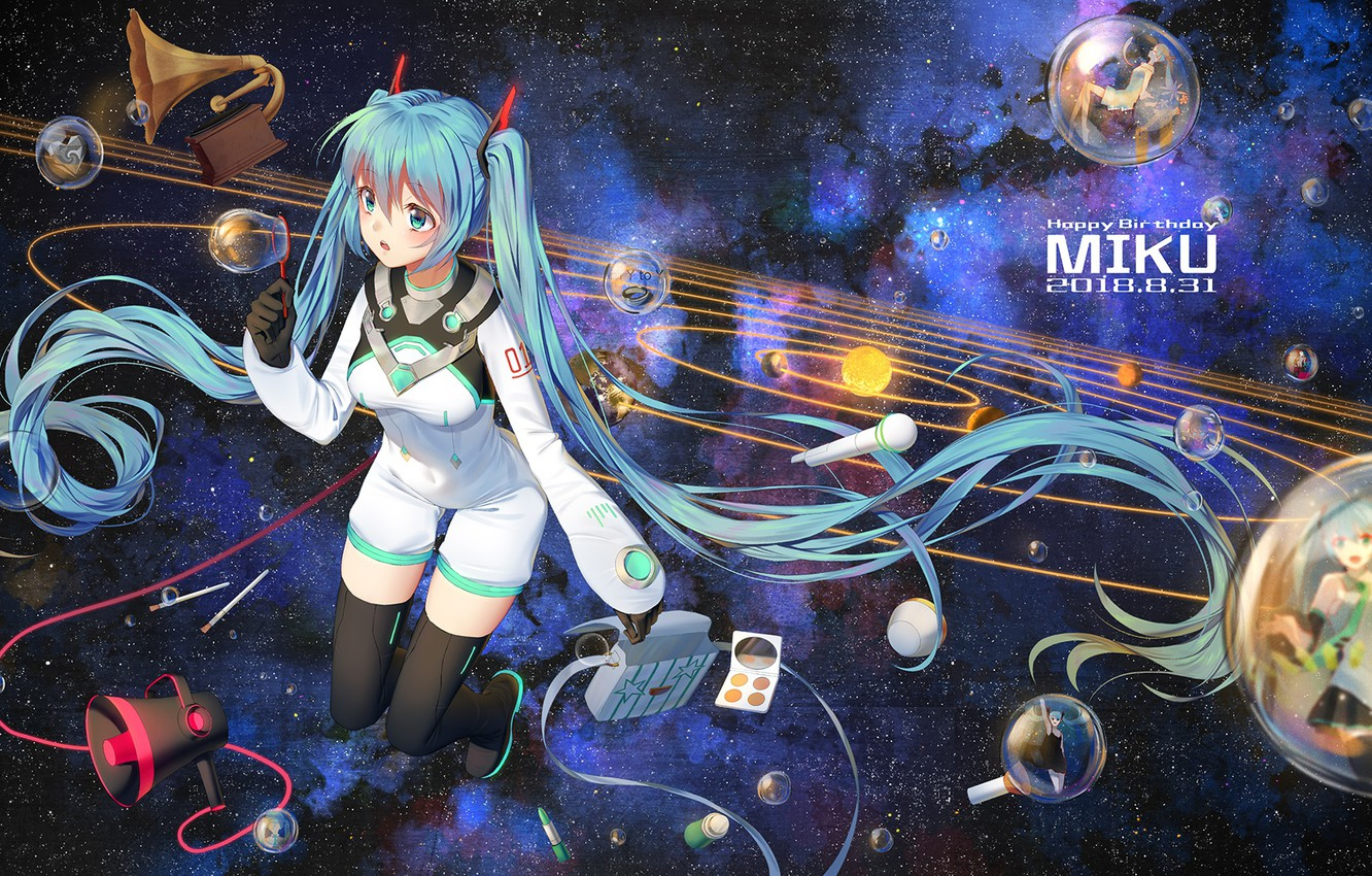 Wallpaper Girl Space Anime Vocaloid Hatsune Miku Images For