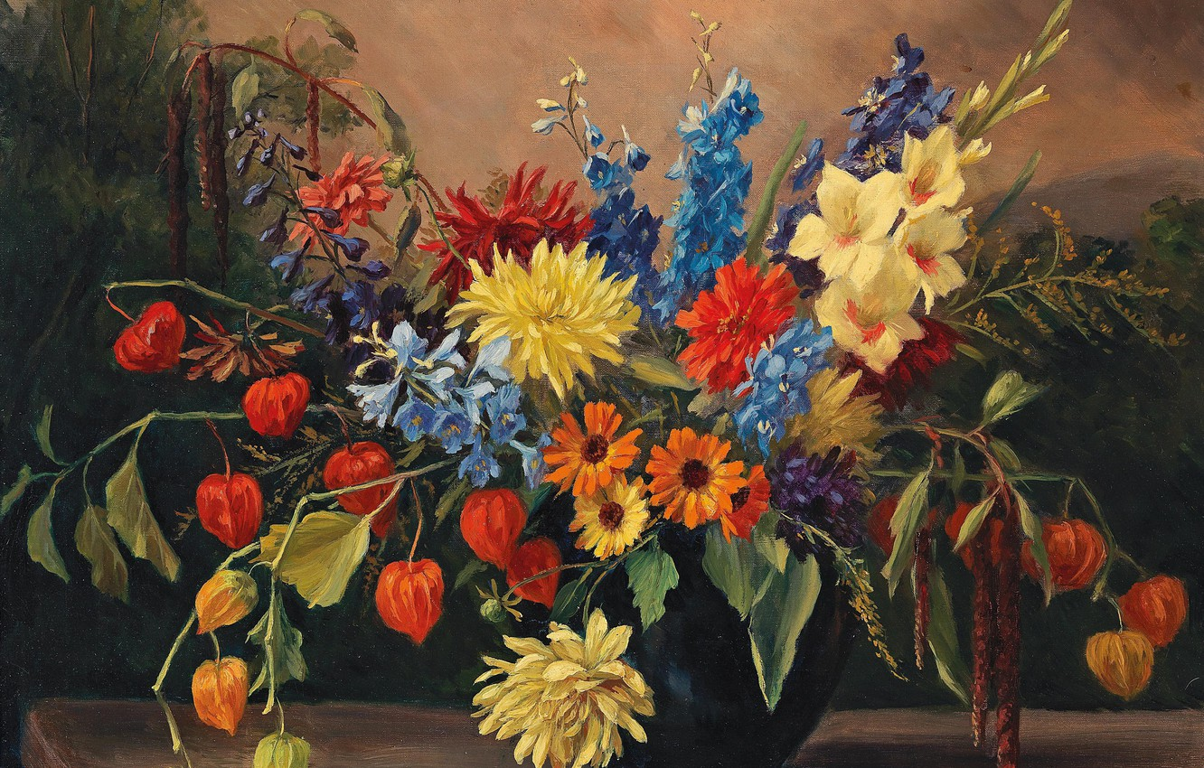 Photo wallpaper picture, still life, painting, canvas, Still life with autumn flowers, Camilla Gobl-Wahl