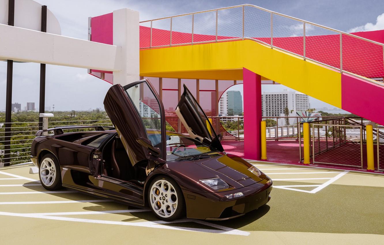 Photo wallpaper Classic, Supercar, Brown, Lamborghini Diablo