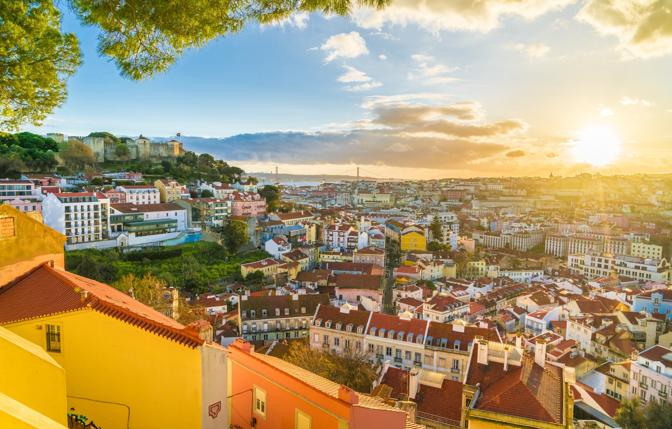 Photo wallpaper the sun, home, panorama, Portugal, Lisbon