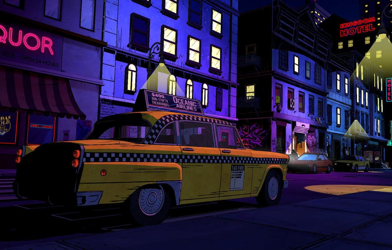 Photo wallpaper night, the city, street, art, taxi, neon signs