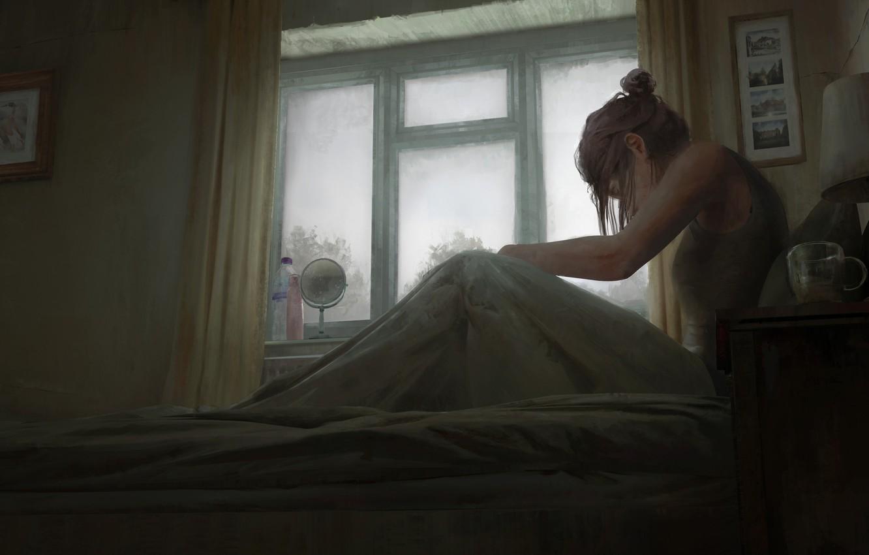 Photo wallpaper girl, glass, art, window, room, artist, bed, bottles, digital art, artwork, lamp, mirror, sitting, paintings, …