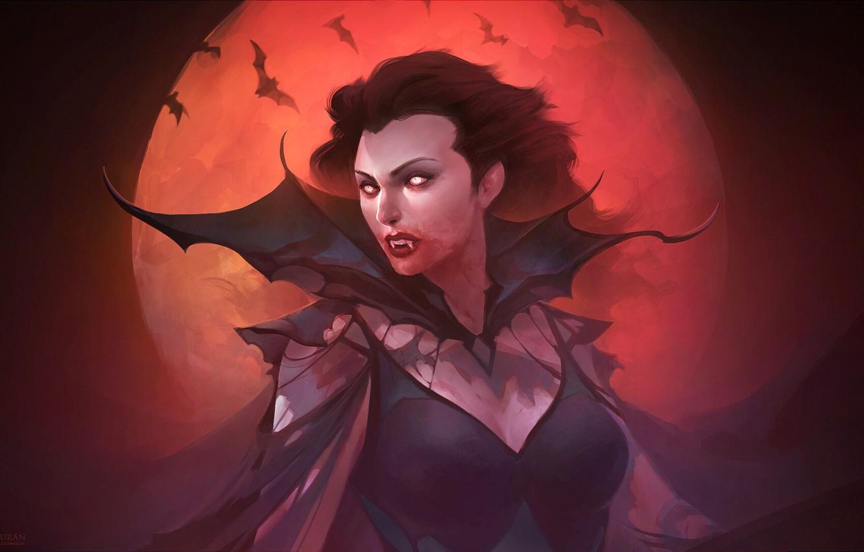 Photo wallpaper night, the moon, art, vampire, Fantasy, bats, vampire, vampire, fantasy