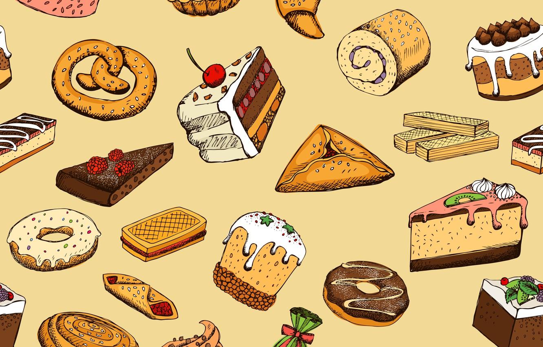 Photo wallpaper background, food, texture, dessert, sweet, pastries, Seamless