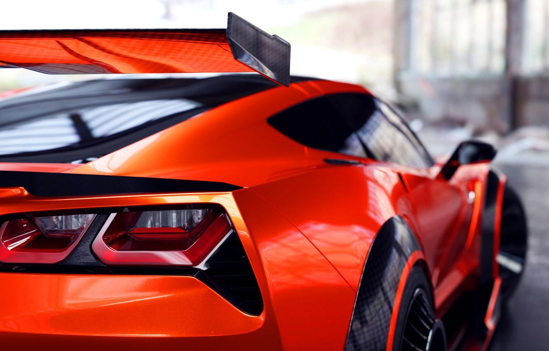 Photo wallpaper Corvette, Machine, Orange, Car, Rendering, Stingray, Corvette Stingray, Sports car, Transport & Vehicles, Chevrolet Corvette …