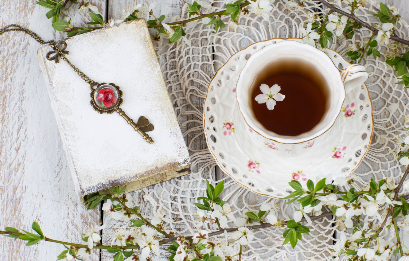 Photo wallpaper spring, flowering, blossom, flowers, cup, spring, tea, Cup of tea