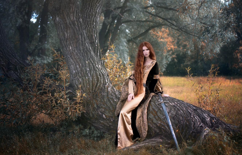Photo wallpaper girl, tree, sword, dress, fantasy