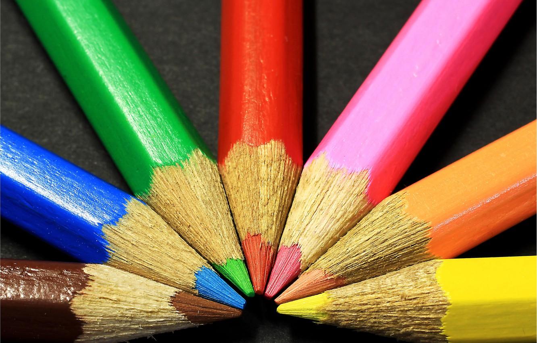 Photo wallpaper macro, photo, background, pencils