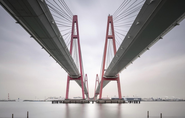 Photo wallpaper bridge, the city, Bay