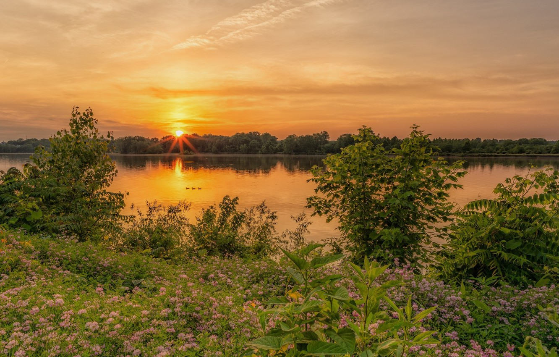 Photo wallpaper sunset, nature, lake, beauty