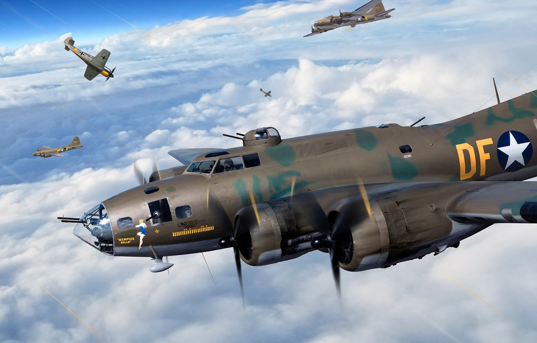Photo wallpaper USAF, B-17, The second World war, Heavy bomber, B-17F
