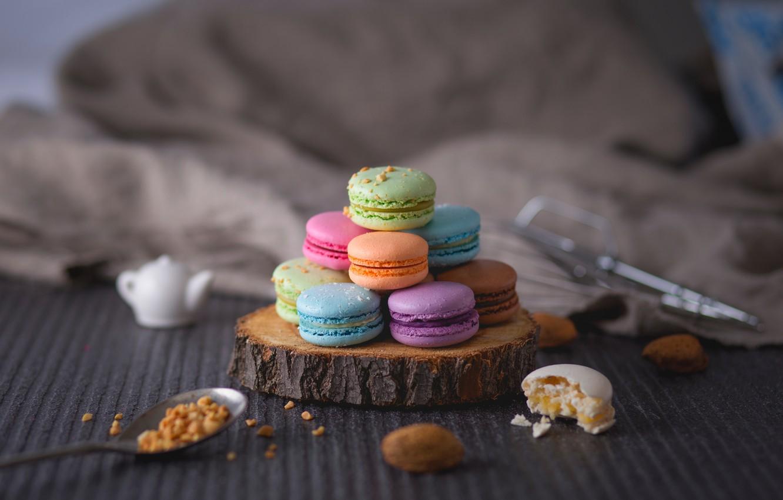 Photo wallpaper cookies, cream, macaron, macaroon, almond