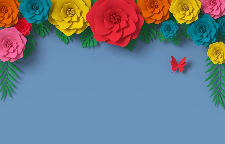 Photo wallpaper flowers, rendering, pattern, colorful, flowers, composition, rendering, paper, composition, floral