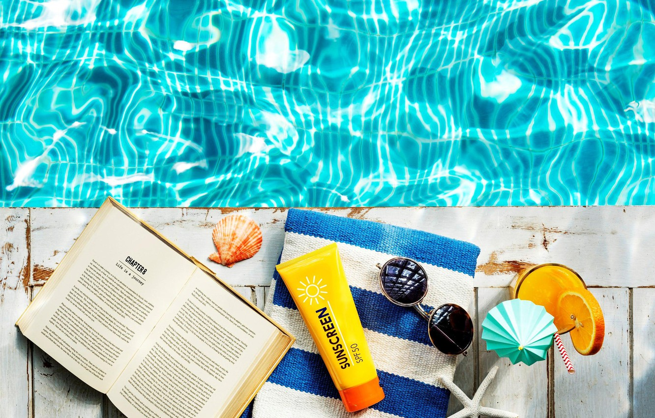 Photo wallpaper summer, water, towel, shell, glasses, cocktail, book